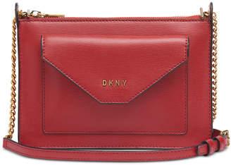 DKNY Alexa Top Zip Leather Crossbody