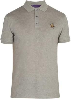 Ralph Lauren Purple Label Logo Embroidered Cotton Pique Polo Shirt - Mens - Light Grey