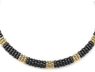 "Lagos Gold & Black Caviar Collection 18K Gold & Ceramic Collar Necklace, 16"""