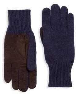 Brunello Cucinelli Cashmere Suede Rib-Knit Gloves