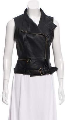 Billy Reid Leather Moto Vest