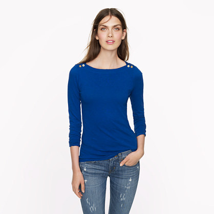 J.Crew Painter button boatneck tee