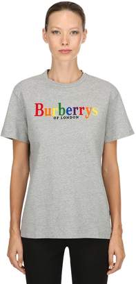 Burberry Clumber Flocked Cotton Jersey T-Shirt