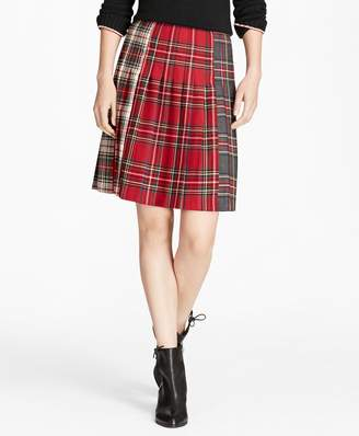Brooks Brothers Mixed-Tartan Wool Pleated Skirt