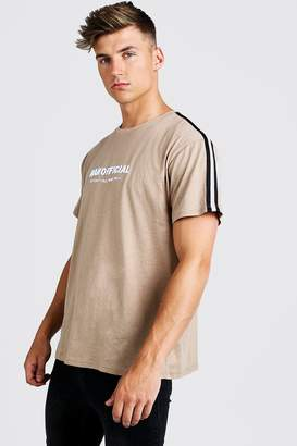 boohoo MAN Official 3D Embroidered Loose Fit Tape T-Shirt