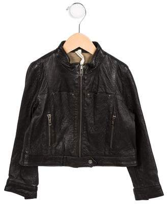 Bonnie Young Girls' Leather Mock Collar Jacket