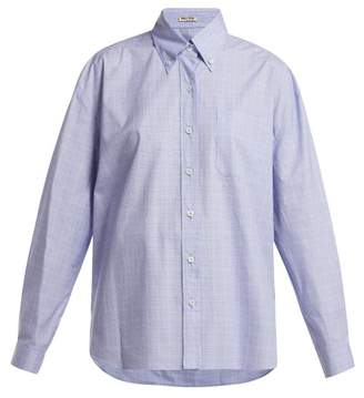 Miu Miu Button Down Collar Checked Cotton Shirt - Womens - Blue