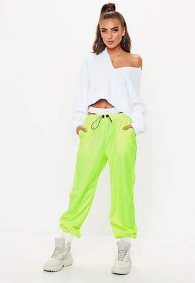 Missguided Lime Toggle Shell Suit Trousers