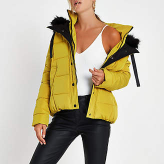 River Island Yellow faux fur hood puffer jacket