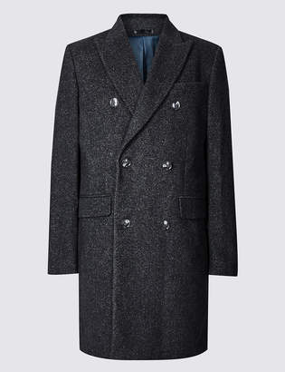 M&S CollectionMarks and Spencer Wool Blend Twill Peak Collar Overcoat