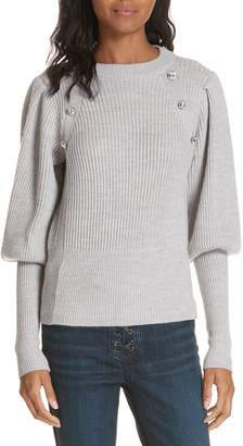 Veronica Beard Jude Crystal Button Merino Wool Sweater