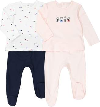 La Redoute COLLECTIONS Pack of 2 Cotton Baby/Heart Print Sleepsuits, Birth-3 Years
