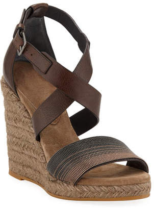 Brunello Cucinelli Leather Wedge Espadrille Sandals