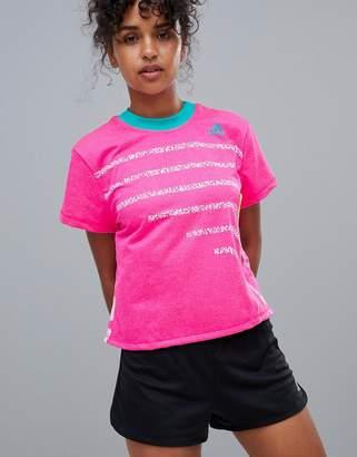 adidas Tennis High Neck Tee In Hot Pink