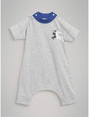 Burberry Childrens Equestrian Knight Print Cotton Playsuit