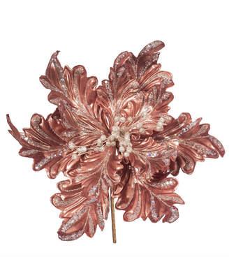 "Vickerman 17"" Rose Gold Faux Pearl Glitter Poinsettia 14"" Flower Head 3/Bag"