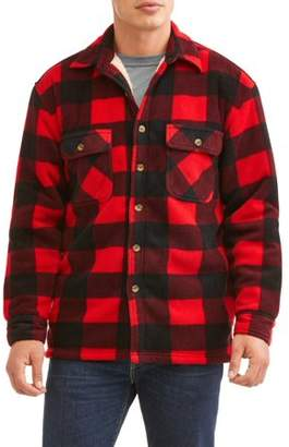Butter Shoes Marino Bay Men's Plaid Print polar fleece Shirt Jacket with fleece sherpa lined, up to size 2XL