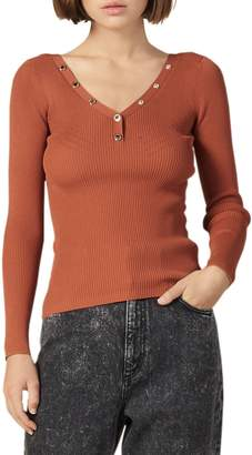 Sandro Justy Studded V-Neck Sweater