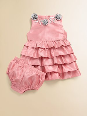 Hartstrings Infant's Frosted Shantung Dress & Bloomers Set