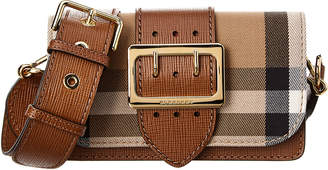 Burberry Small Buckle Check & Leather Shoulder Bag