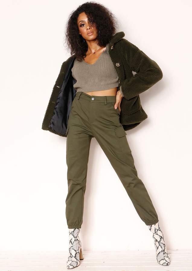 Missyempire Isla Khaki Cargo Cuffed Trousers