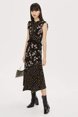 Topshop Lace Mix Print Midi Dress
