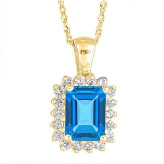 Premier Emerald Cut 1.60cttw Blue Topaz & Diamond Pendant, 14