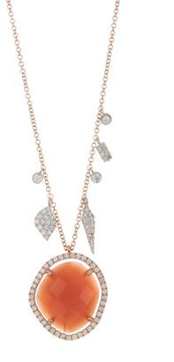 Meira T 14K Rose Gold Orange Moonstone & Diamond Charm Necklace
