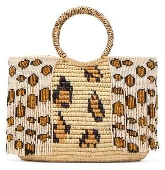 Sensi studio Studio - Leopard Bead Embellished Toquilla Straw Tote - Womens - Leopard