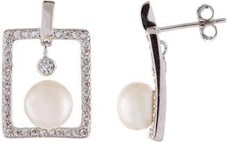 Splendid Pearls Silver 8-8.5Mm Pearl & Cz Earrings