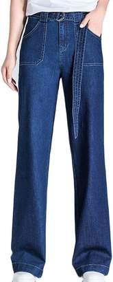 Pandapang Women's Straight High Waist Tie Classic Pocket Wide Leg Denim Pants XXL