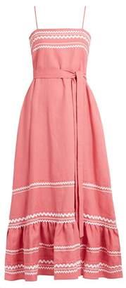 Lisa Marie Fernandez Ric Rac Trimmed Linen Slip Dress - Womens - Pink