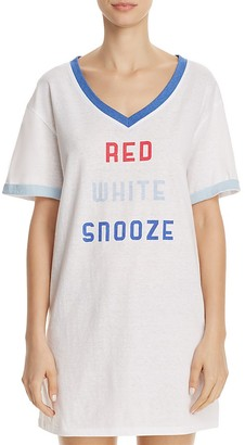 Honeydew Red White Snooze Chill Out Sleepshirt $38 thestylecure.com