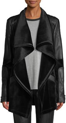 Blanc Noir Drape Velour & Faux-Leather Belted Jacket