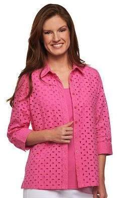 78776989b4a45d 3 4 Sleeve Button Down Eyelet Shirt with Tank