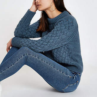 River Island Blue cable knit long sleeve sweater