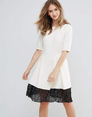 Traffic People Trafffic People 3/4 Sleeve Skater Dress With Lace Insert