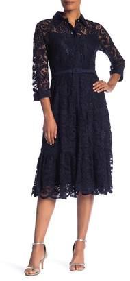 Nanette Lepore Collared Floral Lace Midi Dress