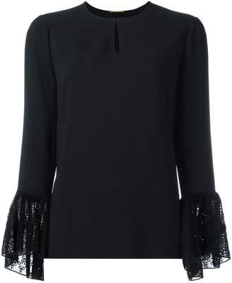 Saint Laurent lace cuff long sleeve blouse