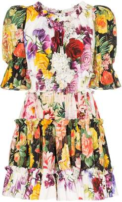 Dolce & Gabbana Floral print puff sleeve cotton mini dress