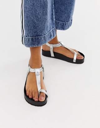 Asos Design DESIGN Filmore premium leather minimal footbed toe loop sandals