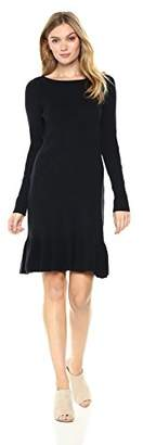 Ella Moon Women's Layken Long Sleeve Bottom Flounce Ribbed Sweater Dress
