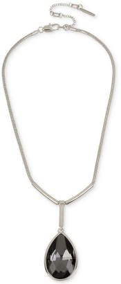 Kenneth Cole New York Silver-Tone Black Stone Pendant Necklace