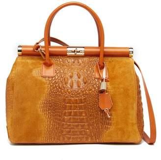 Croco Markese Framed Top Embossed Suede Satchel Bag