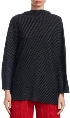 Pleats Please Issey Miyake Ribbed Pleated Mock-Neck Top