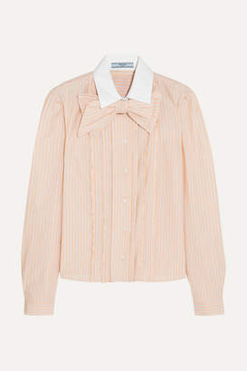 Prada Bow-embellished Ruffled Striped Cotton Shirt - Peach