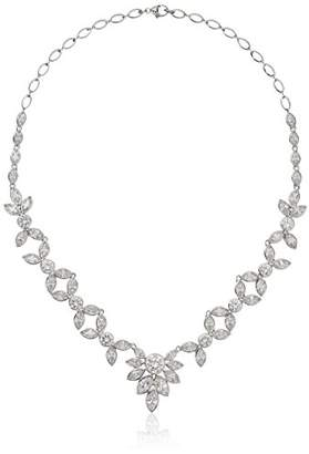 Sterling Silver Made with Cubic Zirconia Floral Statement Necklace