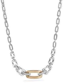 David Yurman Wellesley Sterling Silver& 18K Yellow Gold Chain Link Station Necklace