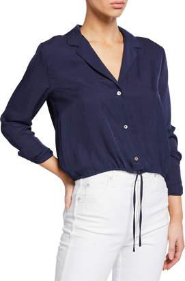 Vince Button-Front Long-Sleeve Drawstring Crop Shirt