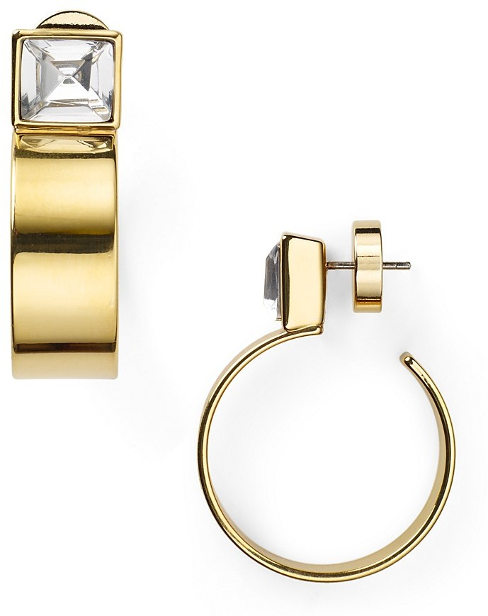 Michael Kors Gold Quartz Crystal Open Hoop Earrings